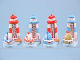 Lighthouse thermometer & sailboat