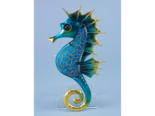 Metal and Glass Seahorse Plaque