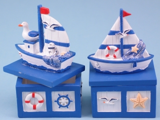 Blue and White Sailing Boat Trinket Box