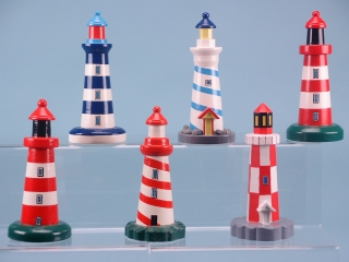 Wooden Lighthouses. Six assorted in blue, white and red. 15cm