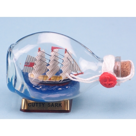 Mini Cutty Sark Ship in Dimple Bottle - 9cm. On a wooden stand with metallic name plate.