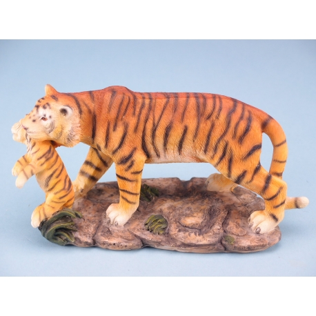 Standing tiger with cub - 20cm