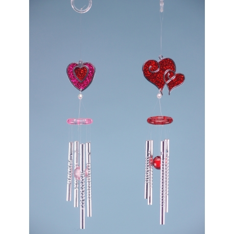 Glitter Single Heart Chime