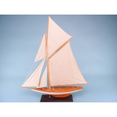 Varnished Yacht with Bowsprit