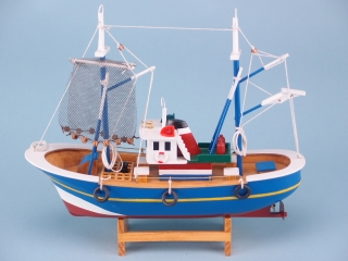 Blue Trawler with Hanging Nets
