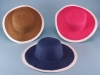 Ladies wide brim polyester ribbon hat