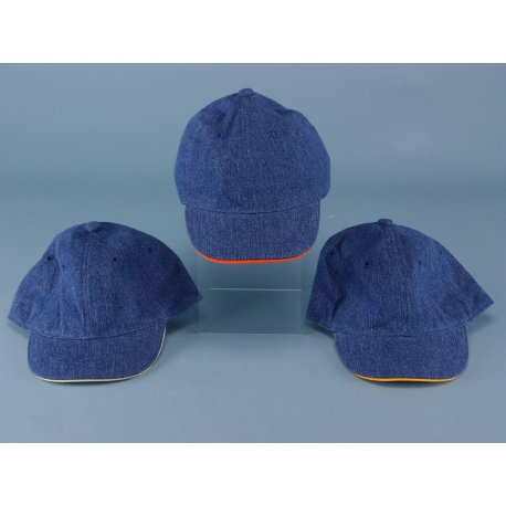 Childs Washed Denim Cap with Trim