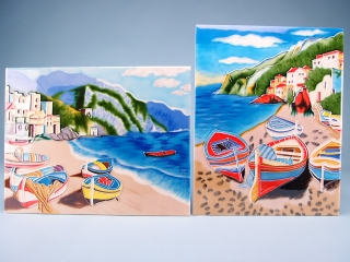 Ceramic plaque - cliffside beached boats