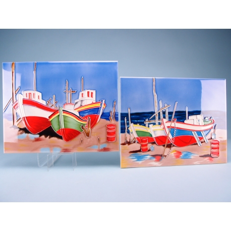 Ceramic Plaque - Beached Boats