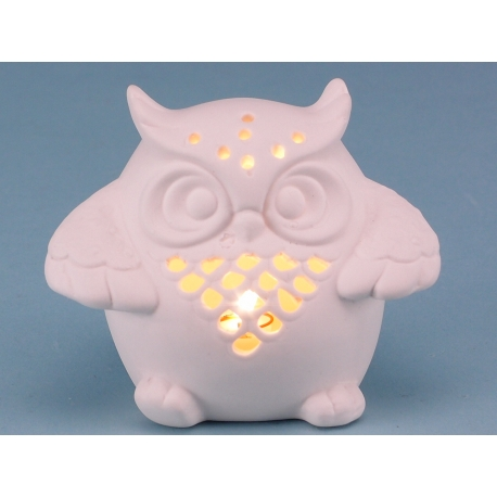 Unglazed Porcelain Owl with LED light