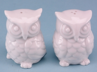 Porcelain owl salt & pepper set