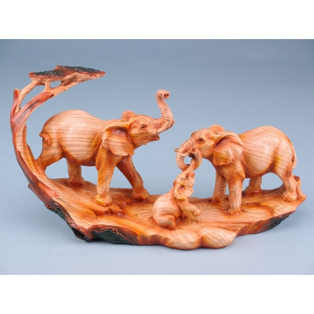 Wood effect elephant family - 30cm