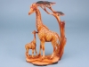 Wood effect Giraffe pair with tree - 30cm