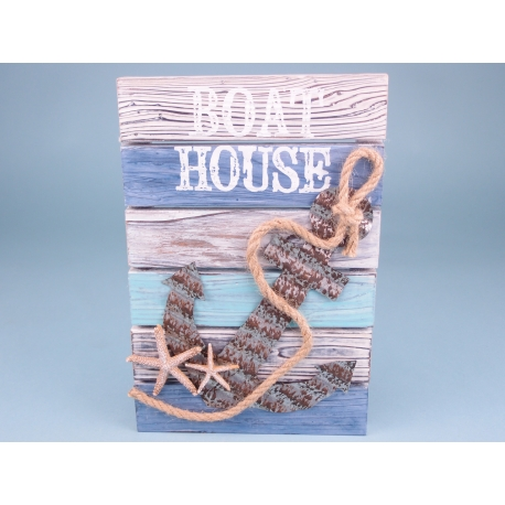 Quay and Sea Boat House Anchor Plaque - 30 x 20cm