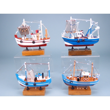Trawler with LED lights - 20cm. Four assorted in blue, red and white colours.