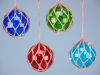 Glass float with LED lights - 10cm. Four assorted in blue, sky blue, red and green.
