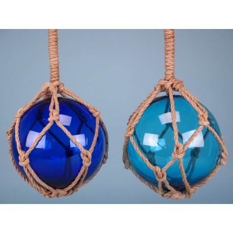 Two assorted Glass floats in Blue and Sky Blue - 10""
