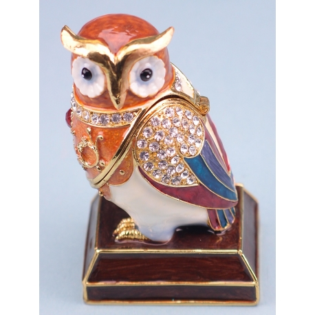 Cloisonne Owl on Plinth - 8 x 5cm