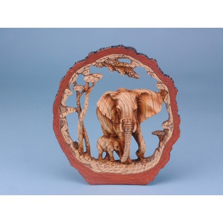 Elephant In Round Log - 19cm