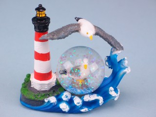 Lighthouse and seagull waterball - 11cm