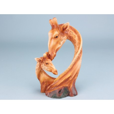 Wood Effect Giraffe Heads -23cm
