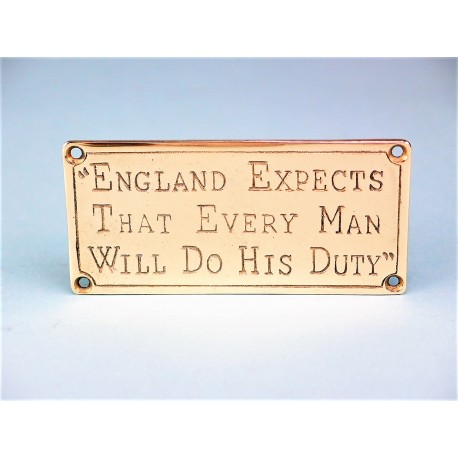 "Brass Plaque - ""England Expects....."""