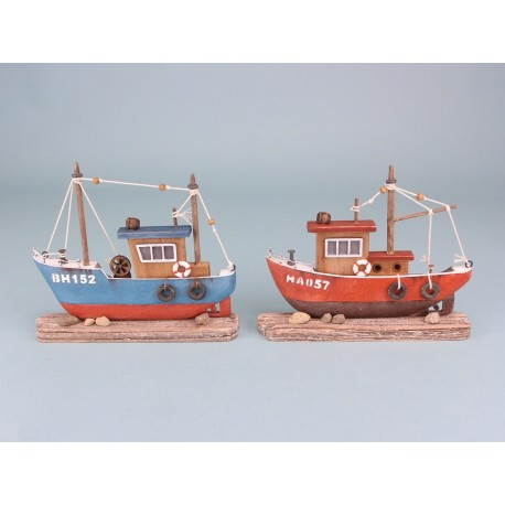 Rustic fishing boat on wooden base