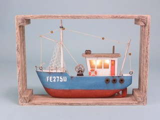 Fishing boat with LED light in frame