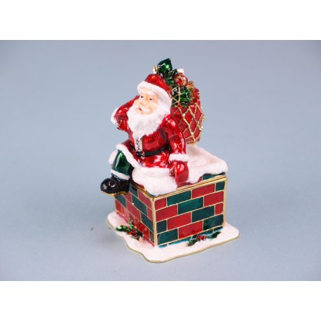 Cloisonne Santa clause in chimney