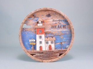 Round lighthouse wall plaque