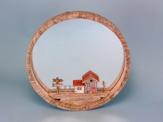 Rustic Mirror With Beach Hut