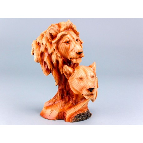 Wood Effect Lion Heads