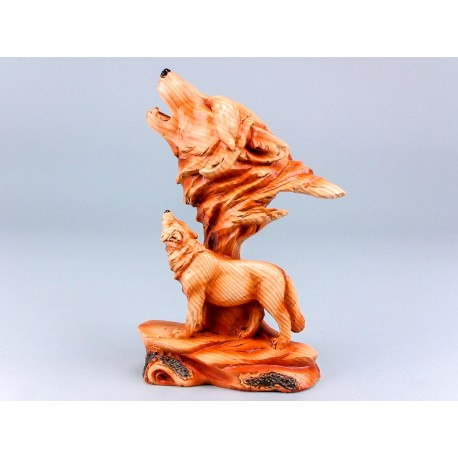 Wood Effect Wolf and Head - 19cm