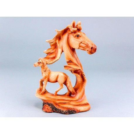 Wood Effect Horse and Head - 19cm