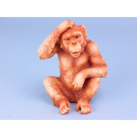 Wood Effect Sitting Monkey - Large - 17cm