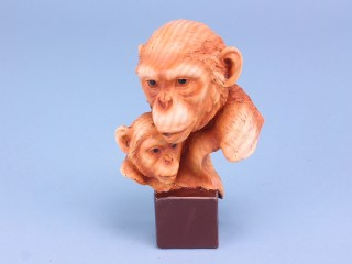 Wood Effect Monkey Pair on Plaque -Small - 15cm