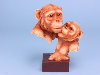 Wood Effect Monkey Pair on Plaque - Large - 23cm