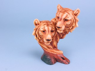 Wood Effect Tiger Head Pair - Large - 23cm