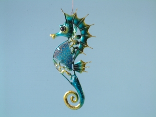 Metal and Glass Seahorse Plaque - 32cm